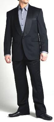 Harris One Button Shawl Collar Wool Tuxedo - Black