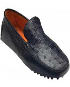 "Mens ""Tom"" Black Genuine Ostrich / Calf Shoes Vestigium Driving Shoes slip on loafers for men"