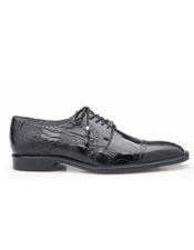 Mens Belvedere Batta Black Genuine Ostrich Cap Toe Shoes