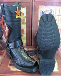 Altos Genuine Ostrich Leg Black Motorcycle Biker Western Cowboy Work Boot