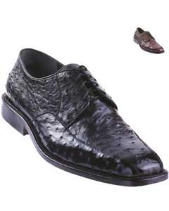 Exotic Ostrich Oxford Shoe Black