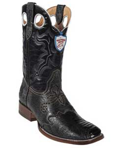 West Black Ostrich Leg Wild Rodeo Toe Boots
