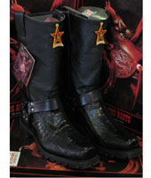 Altos Ostrich Leg Black Motorcycle Biker Western Cowboy Work Boot