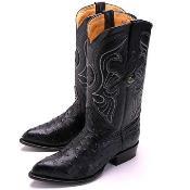 Black Ostrich J-Toe Boot
