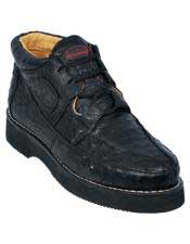 Altos Mens Stylish Black Full Ostrich Skin Casual Sneakers