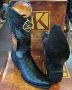 Exotic Black Genuine Ostrich Snip Toe Skin Western Cowboy Boot EE