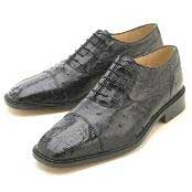 Black Croc/Ostrich Belvedere Lace-Up  Oxford Dress Shoe