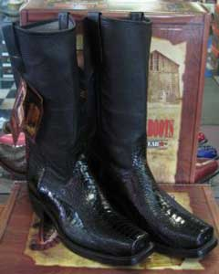 Altos Black Ostrich Leg Western Cowboy Biker Motorcycle Boot