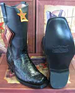 Altos Black Genuine Ostrich Western Cowboy Biker Motorcycle Boot
