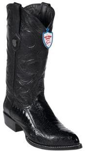 Black Ostrich Leg Cowboy Boots - Botas De Avestruz