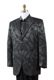 Black Paisley Floral 3 Piece Vested Fashion Tuxedo Suit