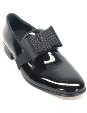 Mens Black Genuine Patent leather with bow tie Tuxedo Formal Dress Shoe