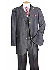 Mens Black Stripe ~ Pinstripe Peak Lapel Vested 3 Piece suit