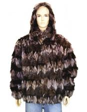 Handmade Fur Black/Pink Pull-Up Zipper Jacket