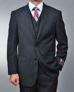 Black Pinstripe 2-button Vested 2 Piece Suits - Two piece Business suits Suit