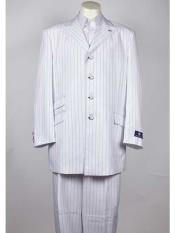 Black Pinstripe Peak Lapel 4 Button Single Breasted White Suit