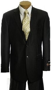 Mens Black Pinstripe 2 Button affordable Cheap Priced Business Suits Clearance Sale