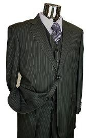 Black Pinstripe 3pc 2 Button Italian Designer Suit Black