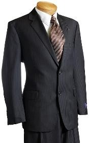 Mens Black Pinstripe Wool