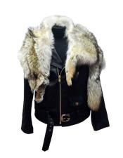 - 3018 Black Raccoon/Lambskin Zipper Closure Jacket