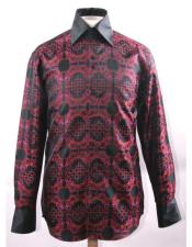 High Collar Fashion ~ Shiny ~ Silky Fabric Black/Red Fancy Pattern Club Clubbing Clubwear Shirts