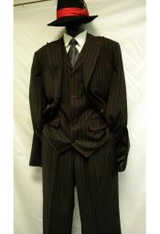 Mens Black/Red 3 Piece Bold ~ Chalk ~ Gangster Pinstripe ~ Stripe Zoot Suit