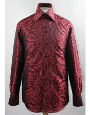 Black/Red High Collar Fashion ~ Shiny ~ Silky Fabric Braid Swirl Pattern Club Clubbing Clubwear Shirts
