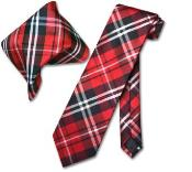 Red White NeckTie & Handkerchief Matching Tie Set