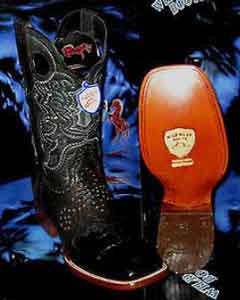 West Genuine Crocodile ~ World Best Alligator ~ Gator Skin Belly Square Black Rodeo Western Cowboy Boot
