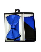 Black/Royal Blue Polyester Satin dual colors classic Bowtie with hankie