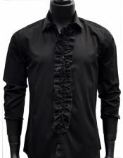 Mens classic Black Ruffled Dress 100% Cotton casual Trendy tuxedo shirt