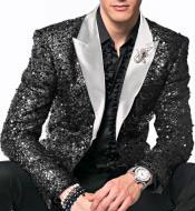 Alberto Nardoni Fashion Black / White Shiny Fashion Sequin with White Lapel Sport Coat Jacket Blazer