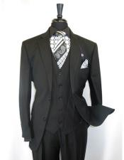 Vinci Mens Black On Black Shadow Stripe Style Two Buttons  Vested