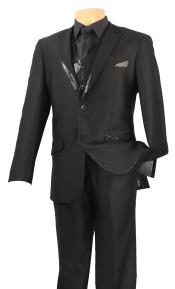 Satin Shiny 3 Piece Tuxedo - Fancy Sequin Jacket and Vest Black