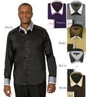 Flashy Silky Shiny Dress Shirt Black