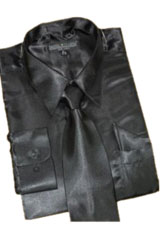 Cheap Sale Satin Black Dress Shirt Combinations Set Tie Hanky Set