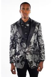 Black/Silver Flashy Shiny Sequin Blazer ~ Sport Coat Fashion Velvet Peak Lapel Jacket Paisley Tuxedo