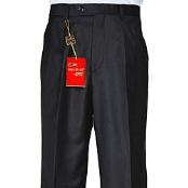 Black Single-pleat Wool Dress Pants unhemmed unfinished bottom