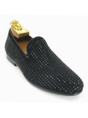 Mens Fashionable Carrucci Crystal Slip On Style Black Dress Shoe