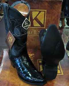 Exotic Black Snip Toe Genuine Eel Western Cowboy Boot ~ botines