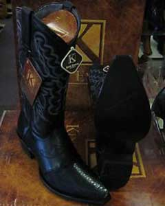 Exotic Black Snip Toe Genuine Stingray mantarraya skin Western Cowboy Boot