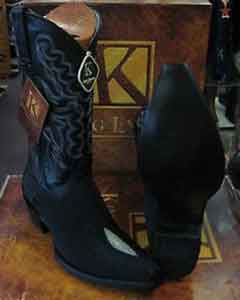 Snip Toe Genuine Stingray mantarraya skin Western Cowboy Boot Exotic Black