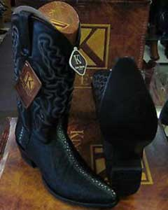 Snip Toe Genuine Stingray mantarraya skin Western Cowboy Exotic Black Boot