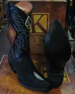 Exotic Black Snip Toe Genuine Stingray mantarraya skin Skin Western Cowboy