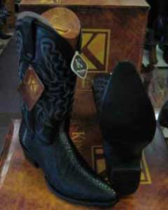 King Exotic Boots Black Western Cowboy