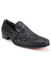 Slip On Style Synthetic Amazing Glitter Black Dress Loafers Glitter ~