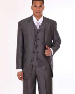 Mens 3 Piece 3 Button Stripe ~ Pinstripe Suit with Lapel Vest