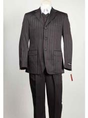 Black Mens Vested 3 Button Red Pinstripe  Closure Suit