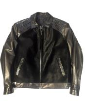 - Pony/Crocodile/Lambskin Black Trimmed Collar Bomber Jacket