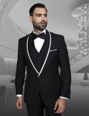 Trimmed Shawl Lapel Blazer Dinner Jacket Black Vested Sport Coat